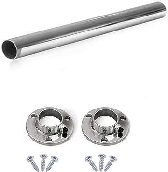 Barra de cromo pulido ovalada para armario ideal para colgar cortada a medida con soportes de extremo y tornillos