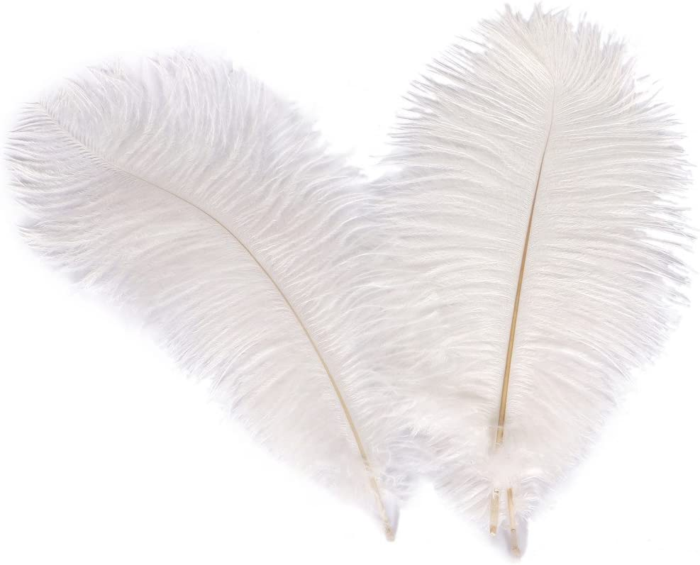 WIBEN Set of 100 8-10inch Natural Ostrich Feathers Plume for Wedding Centerpieces Party Decoration White