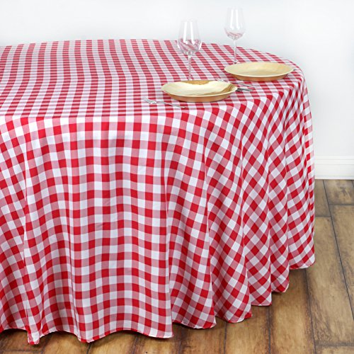 BalsaCircle 108-Inch Red Round Gingham Checkered Polyester Tablecloth Table Linens Wedding Party Events Decorations Catering