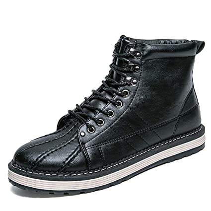 13d28b87a2c5 Zaqxs Men s Street-Style Fashion Platform Synthetic Leather Ankle Boots Fur  Lined Available Fashion High