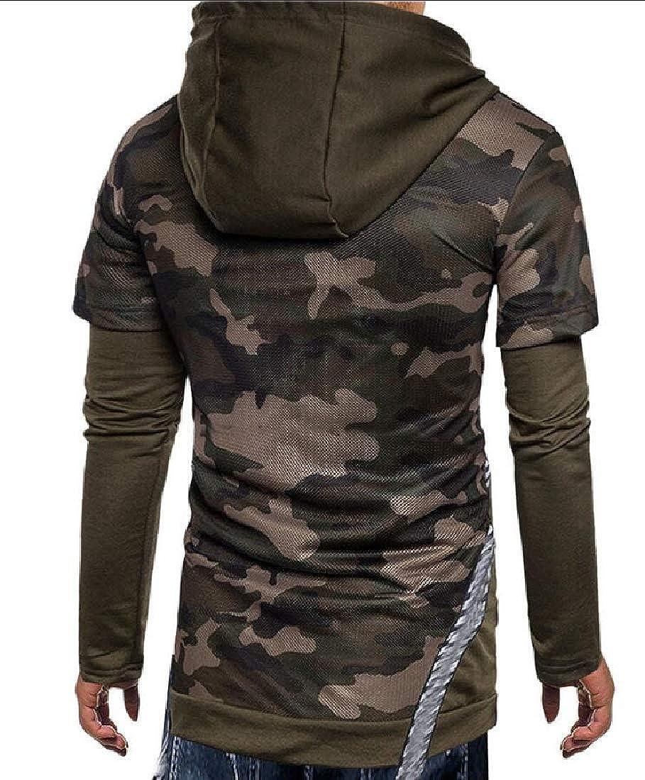 Generic Mens Long Sleeve Jacket Cotton Patchwork Hoodie Sweatshirt Tops