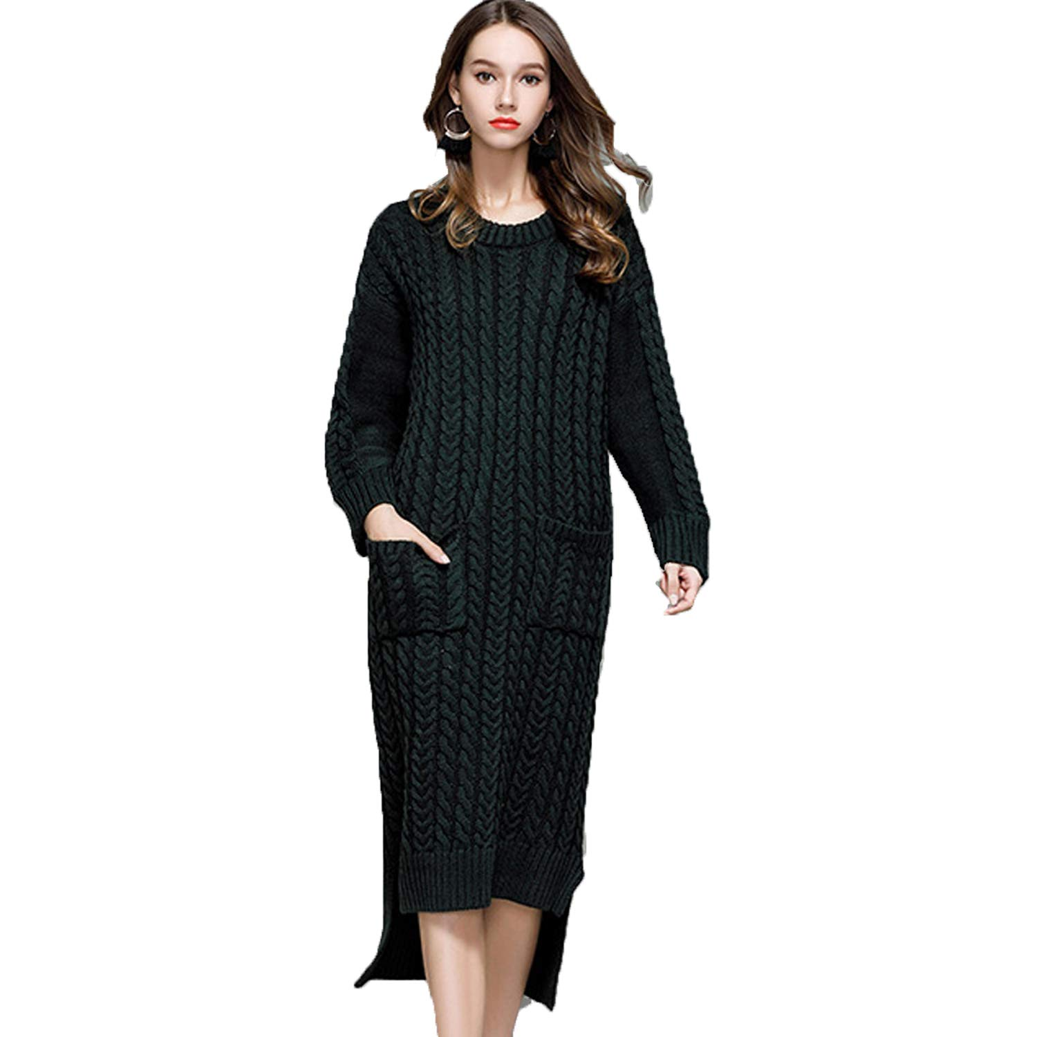 Pnfly Womens Twisted Long Sleeve Pullover Sweater Original Design Knit Dress with Pockets