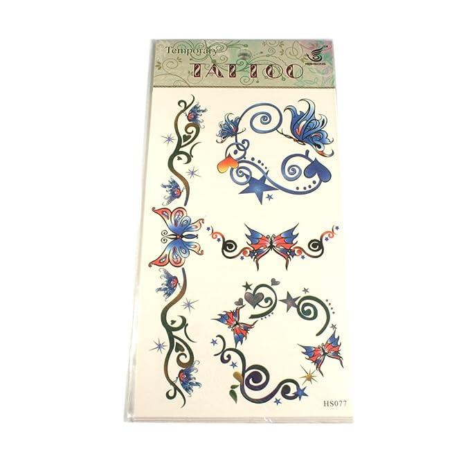 Tatuajes Mariposas con enredaderas, corazones y estrellas azul de ...