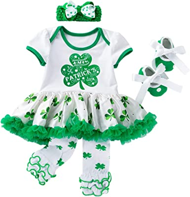 Baby Girl My 1st ST Patricks Day Green Bodysuit Tutu Headband Outfit Set