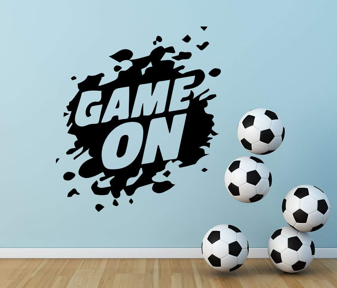"""Game On Wall Decal Gamer Zone Decals Game Wall Art Gamer Sign Sticker Playroom Decor Boys Game On Nursery Decals Teens Decor oo27 23.6""""x35.4"""""""