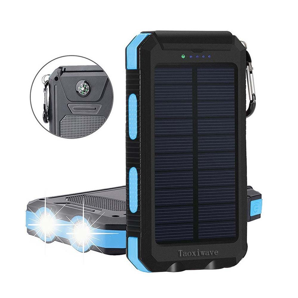 Solar Charger Solar Power Bank 20000mAh Waterproof Portable External Backup Outdoor Cell Phone Battery Charger with Dual LED Flashlight Solar Panel Compatible iPhone Android Cellphones (Bllack & Blue)