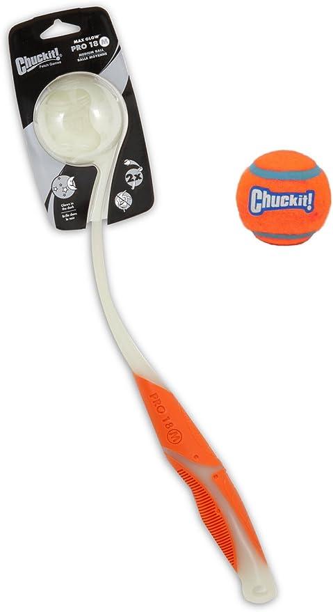 Lanzador de pelotas Max Glow Pro 18 (color al azar) con pelota de ...