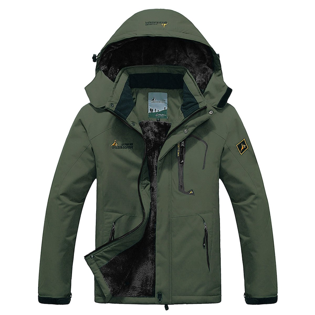 Panegy - Chaqueta para Esquí Deportes Montaña Chaqueta con Capucha de Nieve Impermeable Rompevientos Grueso Caliente - Verde Oscuro - Talla L