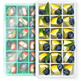 Kitchen & Housewares : GreaterGoods Silicone Ice Cube Tray Molds, 8 Inch 2-Pack, Easy-Release Silicone, 18-Ice Cube, Spill-Resistant Lid, BPA Free, Dishwasher Safe (Grey Green)