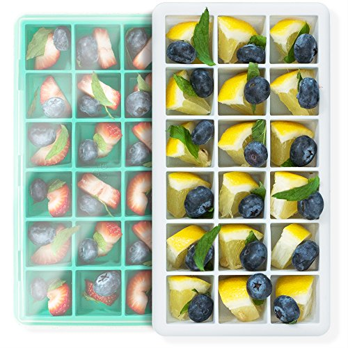 Silicone Ice Cube Tray Molds 8 Inch, by GreaterGoods, 2-Pack, Reusable, Easy-Release Silicone, Flexible 18-Ice Cube, Spill-Resistant Lid, BPA Free, IceCube Maker, Dishwasher Safe (Grey Green)]()