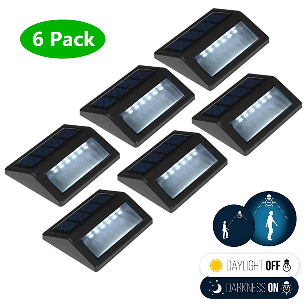 6 Pack Solar Powered Wall Lights, Solar Stair Lights Outdoor 6 LED Step Light Wall Mount Garden Path Lamp Step Lights Outdoor Patio Gutter Fence Lighting