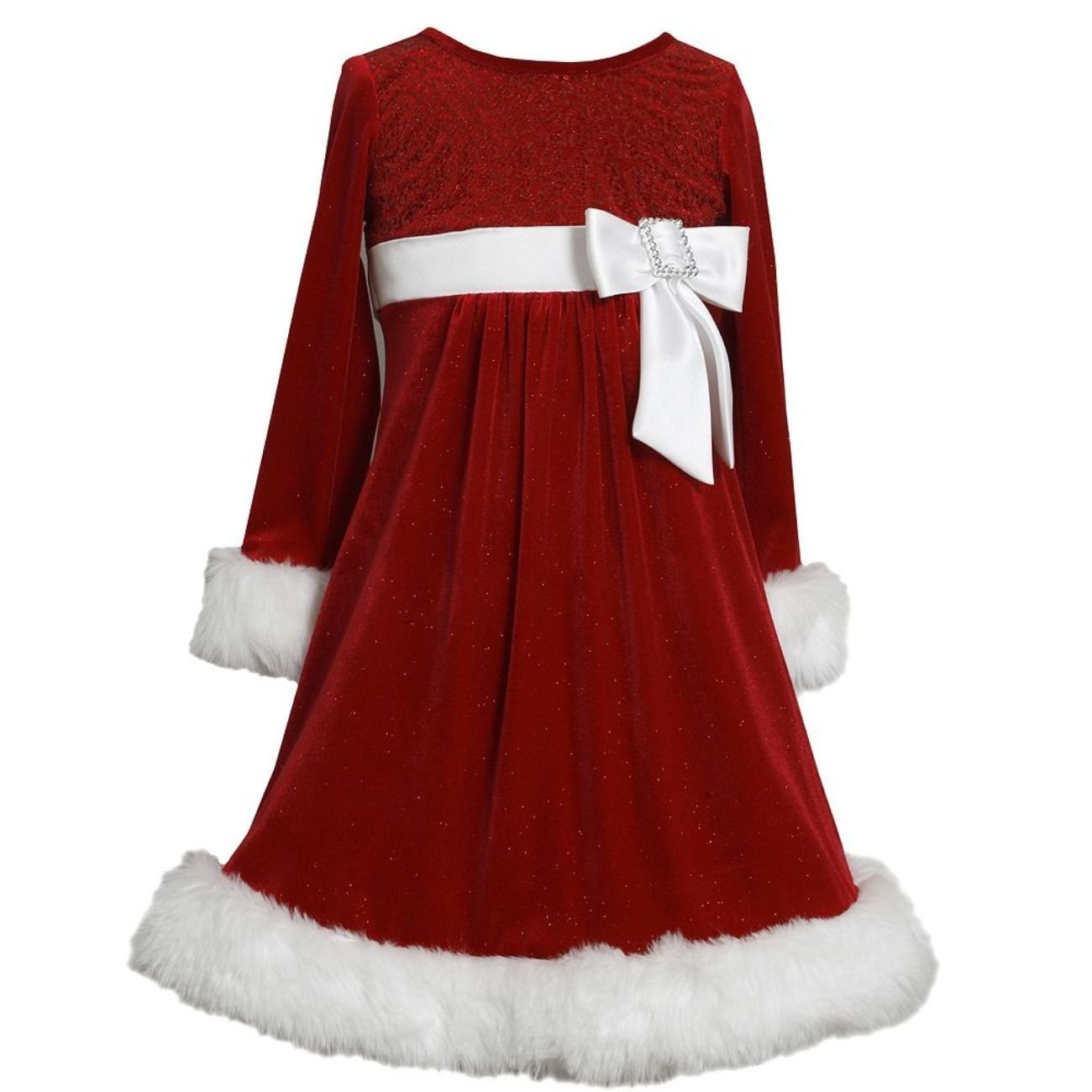 Bonnie Jean Little Girls RED Sequin Side Bow Glitter Velvet Santa Dress