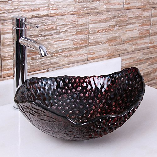 durable modeling ELITE 1603 Ripe Grape Pattern Tempered Glass Bathroom Vessel Sink & Chrome Single Lever Faucet Combo