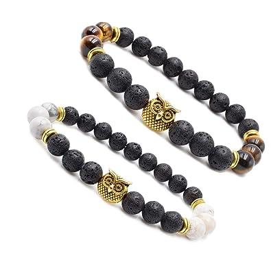 01c6a6385b353 Byson Volcanic Stone Stretch Bracelet Lava Rock Bead Bracelet for Men  Leopard Lion Bracelet Set 8MM Beads Tiger Eye Howlite Bead Couple Bracelets  Set ...