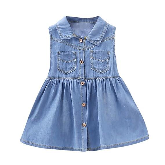 PAOLIAN Vestidos para bebe niñas princesa Verano 2018 fiestas Vestido del dril de algodón Sin Manga Cuello de Solapa Bolsillo Falda de la Rodilla de 6 Meses ...