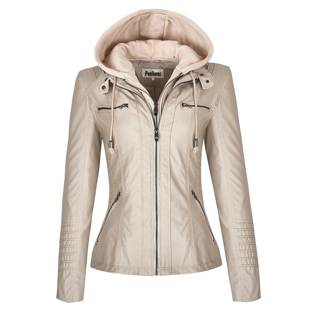 Pop lover Women's Hooded Faux Leather Motorcyle Jacket Detachable Full Zipper Outerwear Apricot XS
