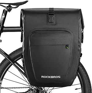 ROCKBROS Alforjas Trasera Impermeable 100% para Portaequipajes de Asiento de Bicicleta MTB Carretera Ebike de Viaje Capacidad 20-27 litros: Amazon.es: Deportes y aire libre