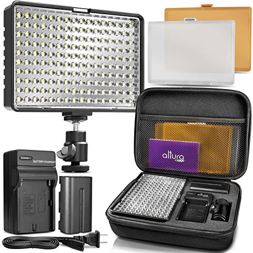 Altura Photo 160 LED Video Light for DSLR Camera and Camcorder Complete Kit – Ultra Bright Dimmable with Battery, Charger, Filters, and Carry Case (Canon, Nikon, Panasonic, Sony, Samsung, Olympus) (Kit Light Camera)
