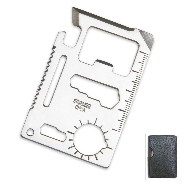 Pequeñas herramientas de supervivencia tarjeta de crédito tamaño multiusos dispositivo con bolsa, plata, 2 unidades