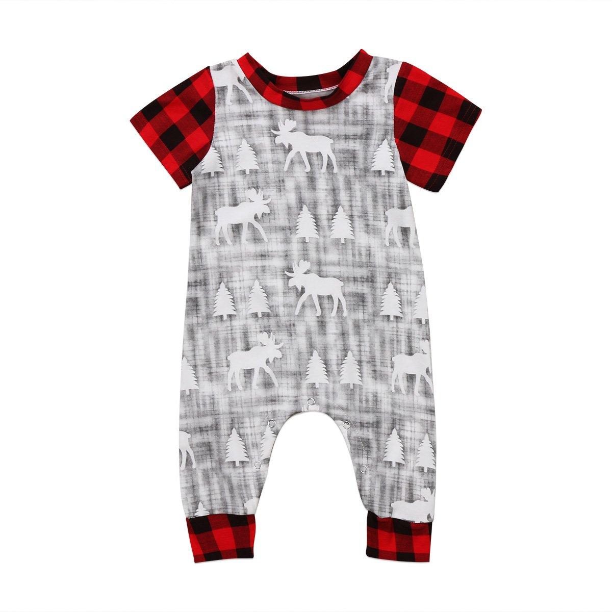 Infant Baby Boy Girl Short Sleeve Romper Plaid Deer Pattern Bodysuit Jumpsuit Outfits