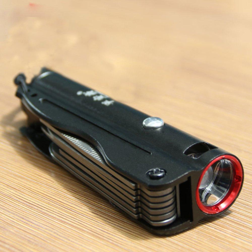 ZHO Linterna recargable largo súper brillante recargable mini LED de largo recargable alcance multifunción cuchillo,negro c2495a