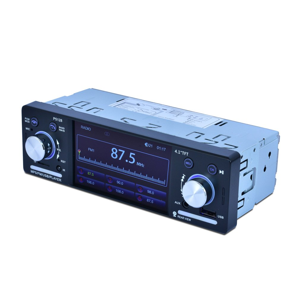 4.1 Inch 1 Din HD BT Car Stereo Radio Auto MP3 MP5 Audio Player Support USB FM TF AUX + Backup Reverse Rearview Camera