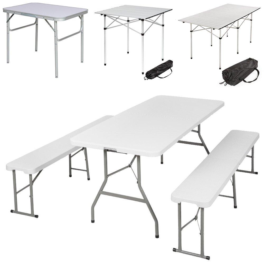 TecTake Klapptisch Campingtisch Gartentisch Campingmöbel - diverse Modelle - (180x75x75cm Set (Model 401067))
