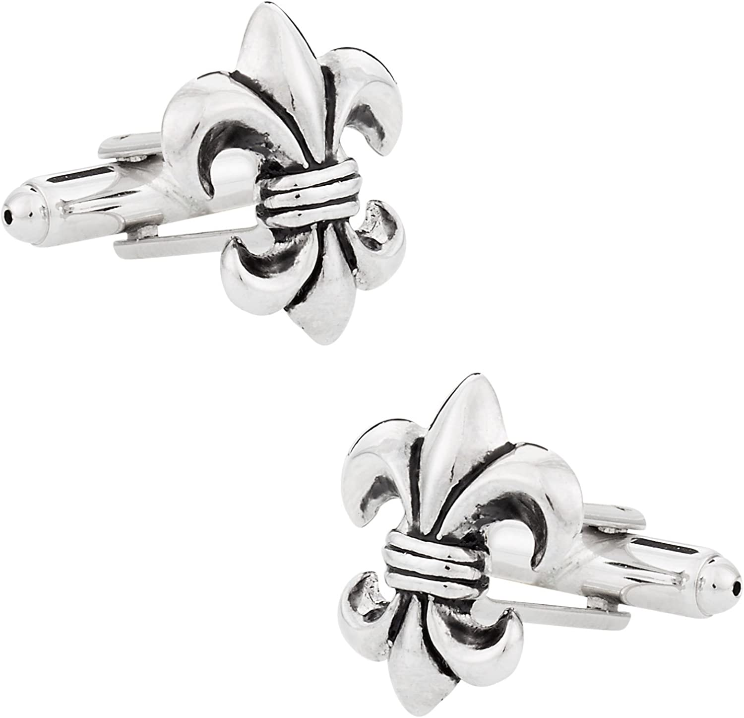 Cuff-Daddy Antiqued Silver Tone Fleur Di Lis New Orleans Cufflinks with Presentation Box