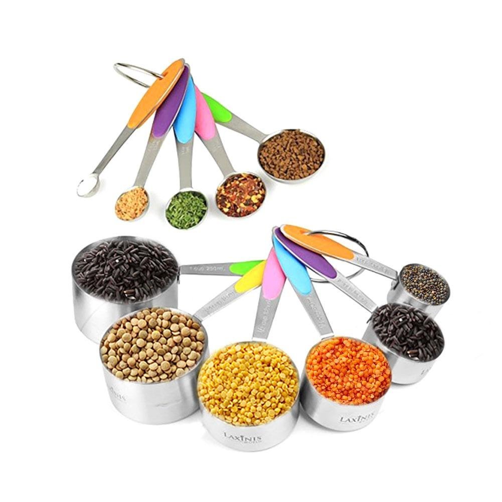 10 Pieces Stainless Steel Measuring Spoons Cups Set Baking Tools Home Kitchen Gadget Nesting cups Housewarming Gift Arvin87Lyly