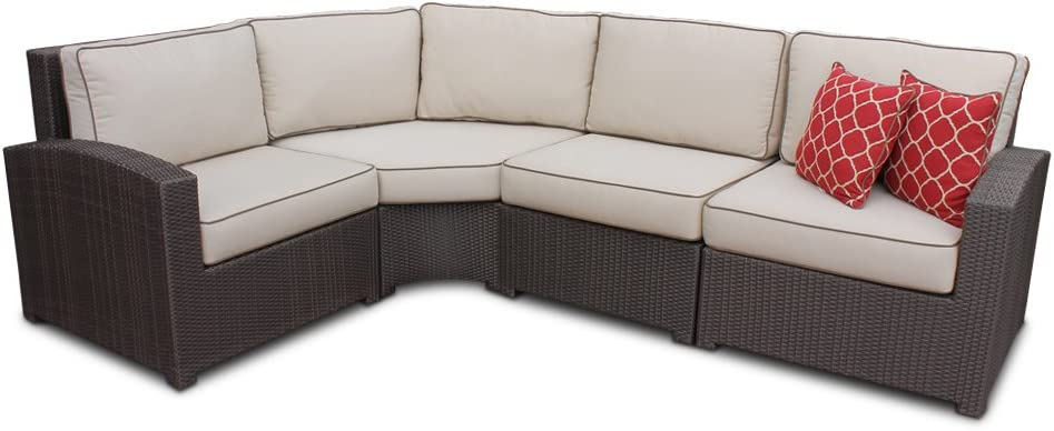 wicker high back 4 piece curved