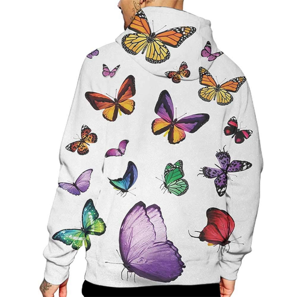 Hoodies Sweatshirt/Men 3D Print Butterfly,Collection of Different Colored Flying Butterflies Independent Spirit Animal,Multicolor Sweatshirts for Men Prime