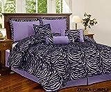 7 Pc Light Purple Black Zebra Micro Fur Comforter Set King Size Bedding