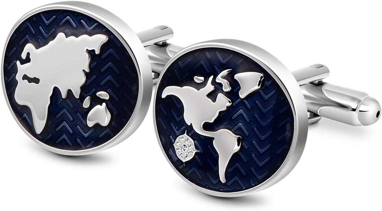 VIILOCK Oval World Map Enamel Cufflinks for Men Sliver Blue Tone French Shirt Cuff Links Wedding business Gift Mens