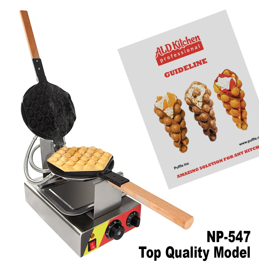 Puffle Waffle Maker Professional Rotated Nonstick (Grill / Oven for Cooking Puff, Hong Kong Style, Egg, QQ, Muffin, Cake Eggettes and Belgian Bubble Waffles) (110V, Puffle maker FY-6R / NP-547)