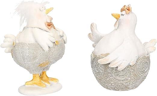 AmaCasa Pollo Gallina Figura de Pascua Juego de 2 diseño Gris/Blanco: Amazon.es: Juguetes y juegos