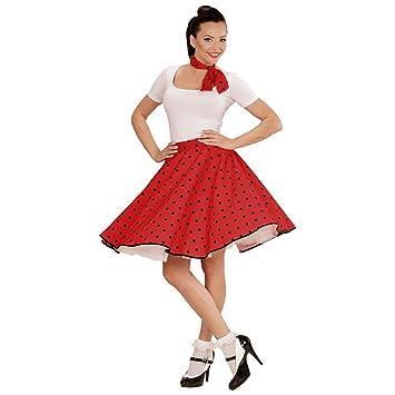 Net Toys 60er Jahre Petticoat Rot Rockabilly Rock Mit Halstuch