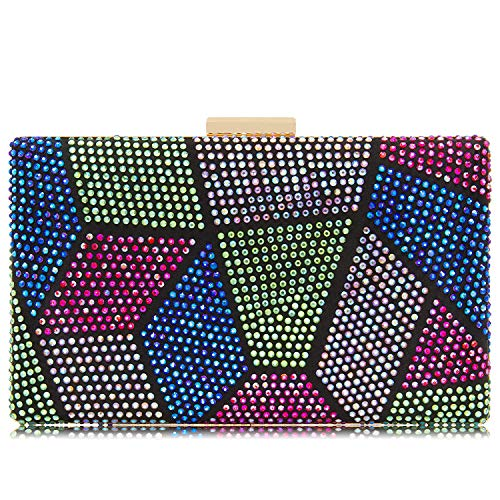 Women Clutches Crystal Evening Bags Clutch Purse Party Wedding Handbags (AB Multicoloured)