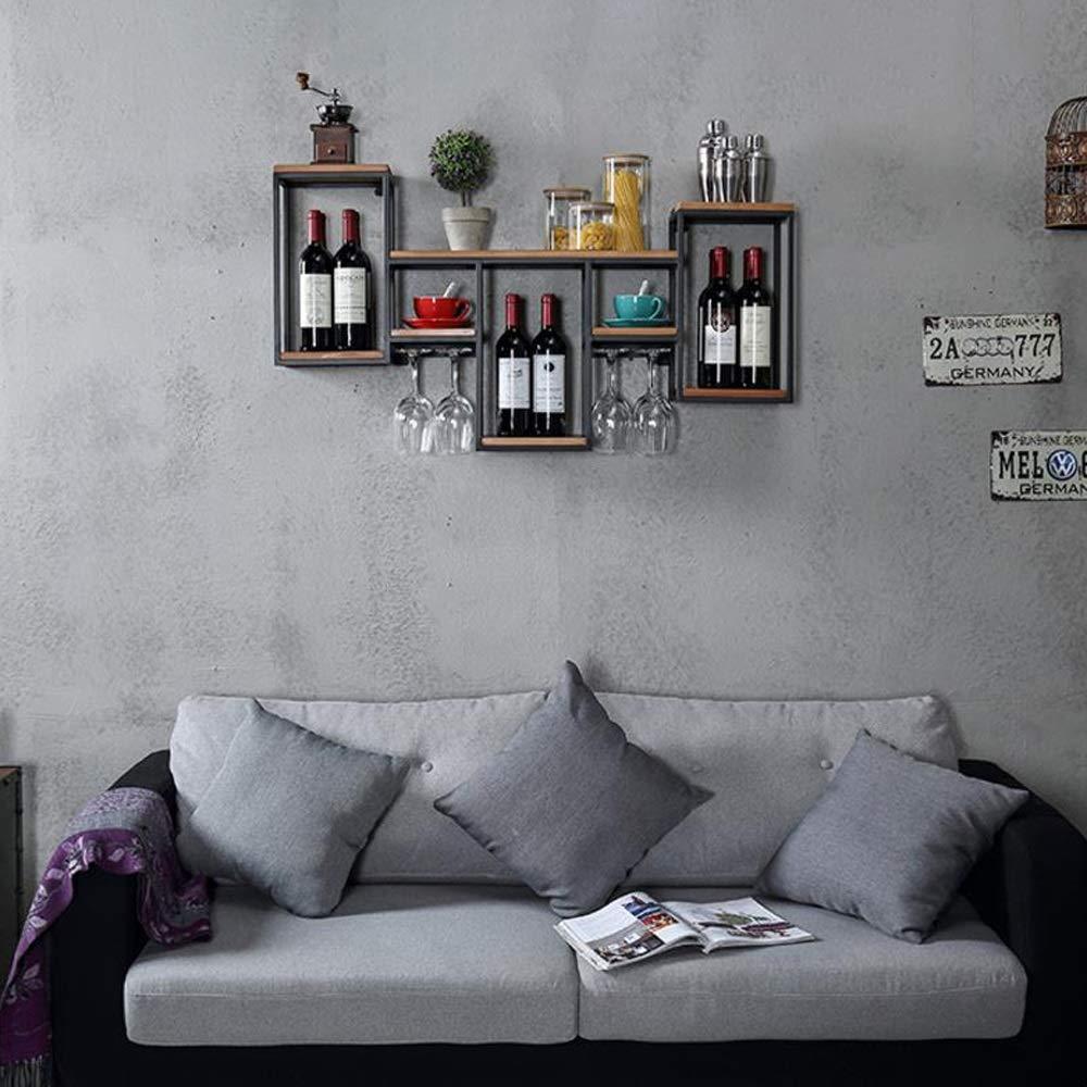 Taille : A Support /à vin Mural en m/étal avec penderie en Bois Etag/ère /à Champagne avec Rangement en li/ège pour la Maison et la Cuisine M-JH Porte Bouteilles