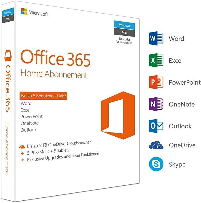 Microsoft Office 365 Home Multilingual 5 Nutzer Mehrere Pcs Macs Tablets Und Mobile Geräte 1 Jahresabonnement Box Software