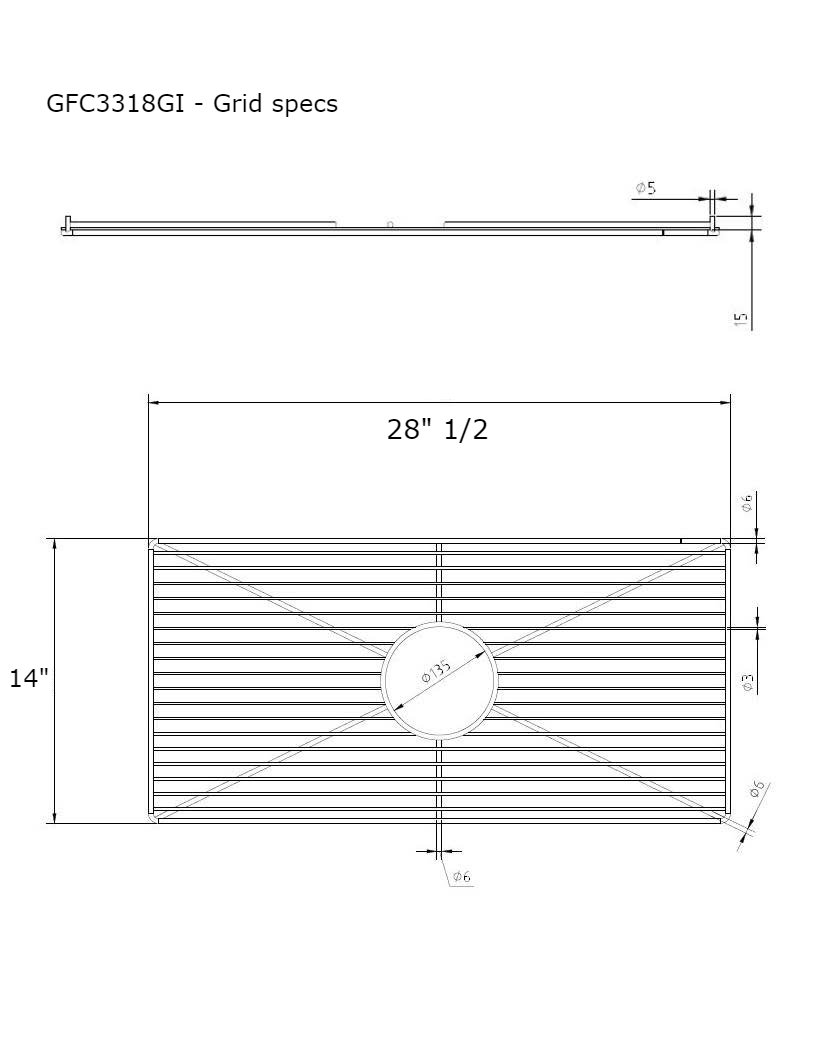 The ClayPro GFC33318GI Stainless steel Kitchen Sink Bottom Grid - 33 Inch Bowl. (28.5'' x 14'')