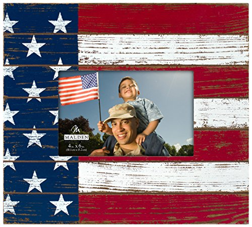 Malden International Designs American Flag Silkscreened Design Distressed Wood Picture Frame, 4x6, - Flag Frames American