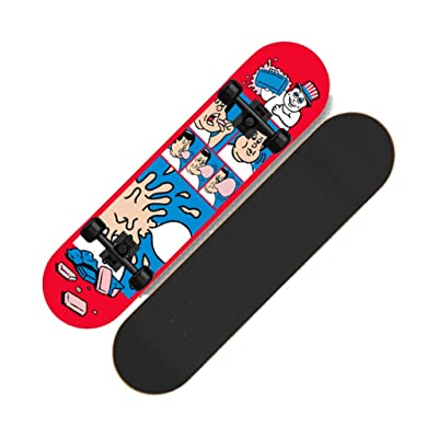 Four-Wheeled Skateboard Beginner Child Adult Boy Girl Teenager Adult Brush Street Professional Board Double-warp Scooter (Color : B): Home & Kitchen