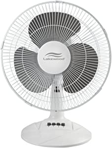 Lakewood Oscillating Table Fan, 12 Inch (LDF1210B-WM)