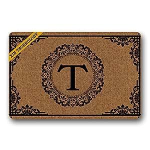 """Artsbaba Personalized Monogrammed Letter Doormat Texture Border Doormats Monogram Non-Slip Doormat Non-woven Fabric Floor Mat Indoor Entrance Rug Decor Mat 23.6"""" x 15.7"""""""