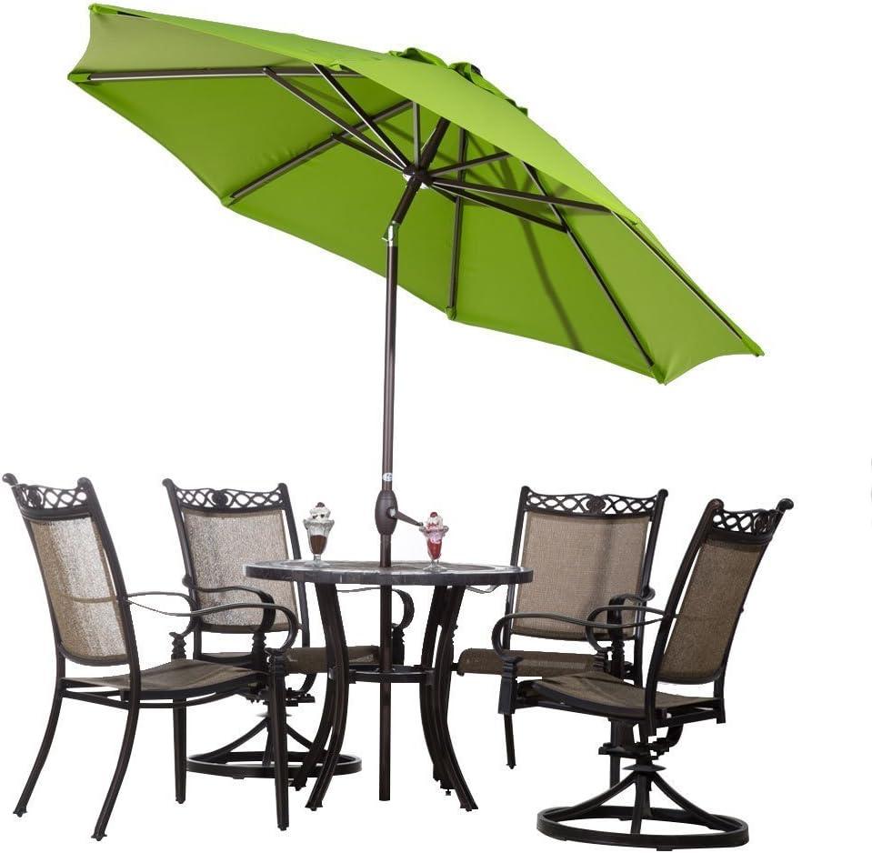 Canvas Antique Beige Abba Patio Sunbrella Patio Umbrella 9 Feet Outdoor Market Table Umbrella with Auto Tilt and Crank