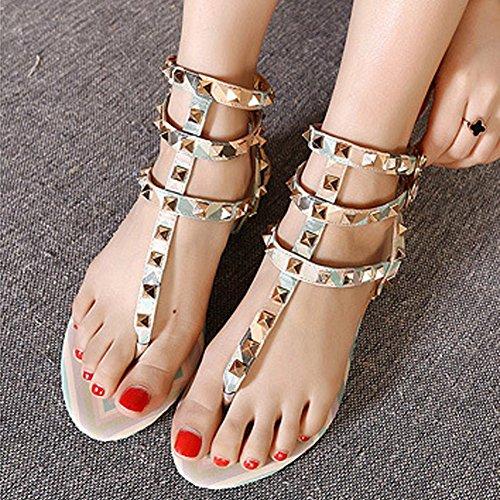 Strap Rivet Green Flat Ankle Women's Studded Buckle Flip Toe Open fereshte Sandal T Gladiator Flops Y4UBA5n