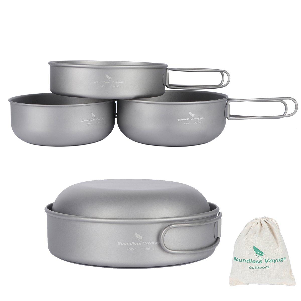 iBasingo 3-piece Set Titanium Bowl Set Outdoor Camping Pan Cookware Pot with Folding-handle Picnic Dishes by iBasingo