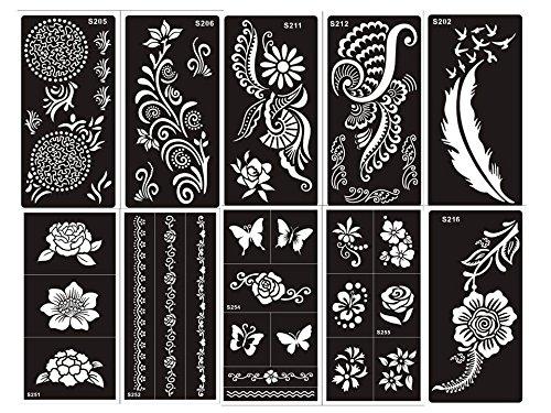 Tattoo Stencil / Template Set of 10 Sheet G Henna and Flower Designs