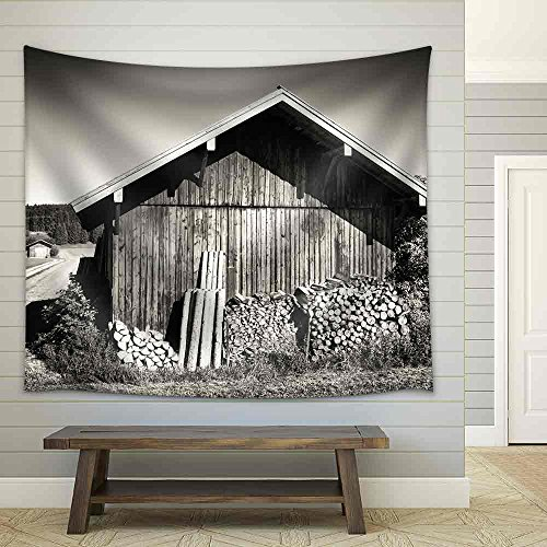 Old Stable and Firewood at a Meadow Fabric Wall Tapestry
