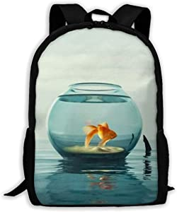 SARA NELL School Backpack Goldfish Tour In Fish Tank Shark Horn Bookbag Casual Travel Bag For Teen Boys Girls